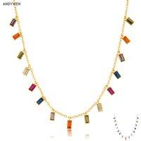 Andywen 925 plata esterlina Colorido Zircon encantos arco iris cadena gargantilla larga cuello moda mujer europeo fiesta fina joyería
