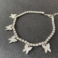 Anklets Fashion Butterfly Anklet Rhinestone Tennis Chain Foot Jewelry For Women Summer Beach Barefoot