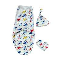1 Set Baby Swaddle + Hat + Gloves Beanie Wrap Bathing Sleeping Bag Diaper Blanket Newborn Clothing H1019