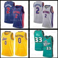"Cade 2 Cunningham Jersey Grant 33 Hill Detroit ""Pistons"" Russell 0 Westbrook Baloncesto Hombre Azul 2021 Draft Primera Ronda Pick 11 Isiah Thomas 10 Dennis Rodman"