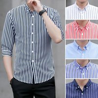Men's Casual Shirts QIWN Summer Shirt Seven-point Sleeve Striped Korean Version Of The Slim Business Youth
