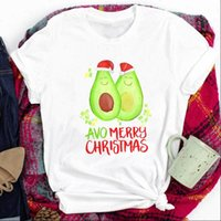 Cartoon Avocado Fruit Happy Women T Shirts Christmas 90s Print Clothes Graphic Tee Womens