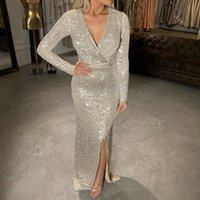 Silver Sequined Maxi Dress Black Burgundy Green V Neck Evening Party Wrap Dress Stretchy Full Sleeved Long Lining Low Slit Leg
