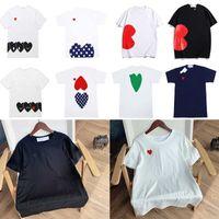 2021 여름 Tshirt 디자이너 티셔츠 남성 탑스 붉은 마음 편지 자수 망 여성 의류 반팔 셔츠 Womens Tee 0203