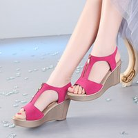 Waterproof Platform Summer New Korean High Slope Heel Soft Bottom Fish Mouth Large Sandals Rome 40-43 Women's Shoes JL2L