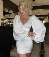 Casual Dresses LEGG Women Sexy Fashion Long Sleeve Off The Shoulder Party Dress Elegant Celebrity Satin White Prom Cocktail Bodycon
