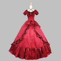 2021 Edelrote Nachtclub Masquerade Party Kleid Kurze Ärmel Rüschen mittelalterliche Renaissance Ballkleider Kleider für Frauen