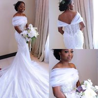 2020 Weiße Meerjungfrau Brautkleider Vestidos de Novia Sheer Schulterfrei Arabisch Afrikanische Tüll Hochzeit Kleider Spitze Perlen Brautkleid