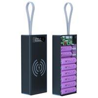16 * 18650 배터리 충전기 상자 전원 은행 홀더 케이스 듀얼 USB LCD 디스플레이 지원 빠른 무선 쉘 Storag