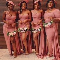 New Satin Mermaid Bridesmaid Dress 2021 Split One Shoulder Wedding Party Gowns Evening Wear Robe De Soiree M136