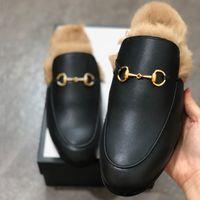 2021 Princetown Kürk Terlik Kadın Tasarımcı Katır Ayakkabı Zincir Işlemeli Deri Loafer Renkli Terlik Rahat Düz Ayakkabı En Kaliteli Kutusu Ile