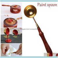 Spoons Flatware Kitchen, Dining Bar Home & Gardenvintage Scoop Sealing Wax Brass Wood Handle Diy Candle Fittings Stamp Seal Heat Beaded Waxe