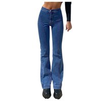 Bayan Geniş Bacak Kot Harajuku Düz Pantolon Moda Orta Bel Retro Dikiş Pantolon Kalça Ifting İnce Vintage Mavi Renk