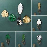 High Quality Creative Golden Leaf Shape Hook Home Decoration Purse Coat Rack Wall Key Hanger Does Not Punch Hanging Hooks & Rails