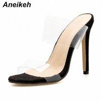Aneikeh 2019 loisirs PU de loisure PU Pantoufles transparentes femmes Chaussures décontractées Talon mince Toile rond coulée sur les mariages noirs taille 4 9 bottes de coin bottes sal r4ga #