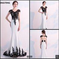Robe de mariage 2021 white mermaid wedding dress black lace appliques cap sleeve hollow back sexy bridal gowns scoop neckline court train simple bride dresses