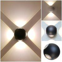 مصابيح بالجملة للماء الألومنيوم أربعة من جانب مضيئة غرفة المعيشة ممر الممر جولة الصمام الجدار مصباح ضوء الزخرفية