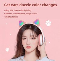 Headset cat ears bluetooth wireless Headphones stereo multifunctional music memory card playback call voice cute female student colorful charging Earphones