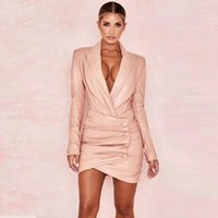 Casual Dresses Fashion Selling Women Dress PU Leather High Quality Pink V Neck Long Sleeve Outfit Classsic Jacket Wholesale