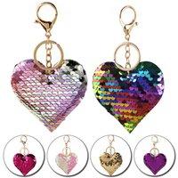 귀여운 하트 키 체인 여성을위한 반짝이 장식 펜던트 자동차 열쇠 고리 반지 패션 열쇠 고리 홀더 매력 가방 선물