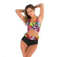 Swimwear High waisted bikini print black wine red blue split Women's soft bag no steel bracket cross swimsuit strap