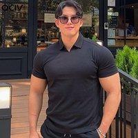 Yaz V Yaka Poloslu Kas Spor Gömlekleri Düz renkli yaka, yuvarlak dipleri vücut zayıflama fitness ve kısa kollu erkekler