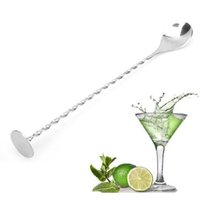 Spoon barra filettata in acciaio inox Swizzle Stick Caffè Cocktail Mojito Cucchiaini per vino Barware Bartigender Strumenti GWF6191