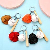 مصغرة ثلاث قطع قفاز البيسبول الخفافيش الخفاش المفاتيح سيارة مفتاح سلسلة حلقة هدية للرجل النساء بالجملة