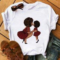 멜라닌 블랙 곱슬 머리 소녀 Poppin 엄마 티셔츠 보그 여성 인쇄 티셔츠 Femme Harajuku 옷 여성 T 셔츠 탑스 여성