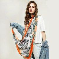 Moda Bayanlar Renk Kenar Yaprak Ve Gümüş Baskı Ince Uzun Eşarp, Bahar, Yaz, Sonbaharda Pamuk Keten İpek Eşarplar, Sonbahar Wint Atkılar