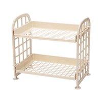 Cleaning Cloths Storage Shelves,Plastic Small Shelves - 2 Tier Shelf Shelving,Kitchen Bathroom Organizer(Yellow)