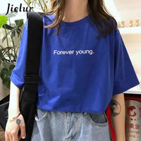 Jielur T-Shirt Donna Harajuku Allentato Casual Forever Young Lettere T Shirt Estate Hipster Hipster Coreano Street Basic Tshirst Purple Blue MX200721