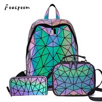 Outdoor Bags Women Backpack School Foldable Crossbody Bag For Ladies Clutch And Purse Geometric Luminous Laptop Bagpack Holographic 3Pcs Set