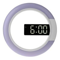 Wall Clocks Led Mirror Hollow Home Decor Multi-Function Alarm Temperature Ring Light Digital Clock White