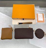 Cuir Petit Portefeuille Femme Mini Coin Sac à main Zipper 3 Pièces Marque Trio Pouch Sacs d'embrayage 0018