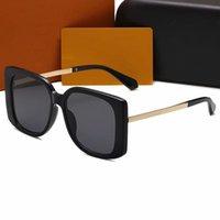 Celebridad de alta calidad Gafas de sol Gafas de sol de diseño Marca de gran tamaño Moda Oro Marco Glasses Ladies Sunglass Square Square Glass con caja