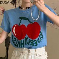 Kusahiki Vintage Oansatz Cartoon Kirschbuchstaben Treffer Farbe Gestrickte T-Shirt Kurzarm Koreanische Süße Frau Graphic T-Shirts 6H349 210602