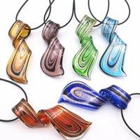 Vente en gros 6pcs Mélanger Colliers de couleurs de couleur Twisted Silver Feuille de lampadaire Collier en verre Collier Pendentifs Mode