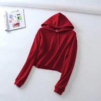 Women's Hoodies & Sweatshirts Women Casual 2021 Autumn Long Sleeve Pullover Fleece Hooded Loose Crop Top Tracksuit Sudaderas