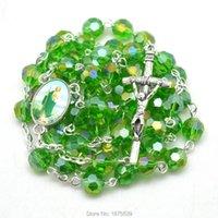 녹색면 처리 된 크리스탈 구슬 Jude 묵주 목걸이 체인