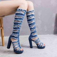 Stiefel Deep Toe über dem Knieloch Jean Frauen Lange enge Chunky Heel Sommer Plattform High Heels Designer Schuhe 6T6R