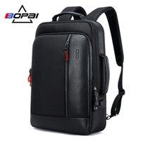 Bopai männer schwarz leder rucksack usb ladung bagpack schultaschen versteckt tasche antidiebstahl männlich laptop rucksack sac a dos 210309