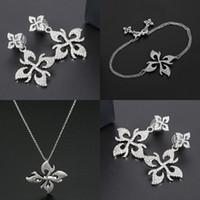 S925 Sterling Silver stud Magnolia Flower Earrings temperament tassel bracelet women's clavicle Necklace personality fashion luxury jewelry Monaco Earring