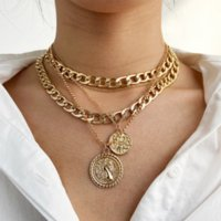New Arrival Vintage Retro Statement Multilayer Necklaces Charm Alloy Geometric Ornaments Pendants Sweater Clavicle Chains Accessories Fashion Jewelry For Women