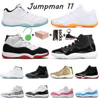 Mit Box Nike Air Jordan Retro 25 Jahre 11s Citrus Low Basketballschuhe Jumpman 11 Herren Damen Legende Blau Metallic Gold Bred Turnschuhe Turnschuhe Größe 36-47
