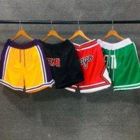 Squadre Just Don Basket Ball Breve Hip Pop Estate in esecuzione Sport Pant con Pocket Zipper Sweatspants Blu Blu Nero Uomo nero cucito