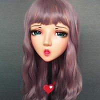 Máscaras de festa (HAN-02) feminino menina doce resina meia cabeça kigurumi bjd olhos crossdress cosplay japonês anime funde lolita máscara com e peruca