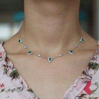 Princesa nobre colar pendente gota de água criada esmeralda elegente cadeia de colarinho 32 + 10 cm para mulheres femme moda jóias presente coradores