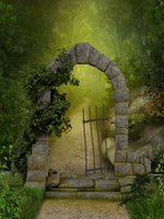 Magic Path Green Forest Vinyl Photography Backdrops Stone Portal Photo Booth Newborn Backgrounds for Natural Scenery Studio Props