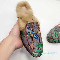 2021 Femmes Hommes Demi-pantoufles Slippers Slides Machasers Automne Hiver Chaudice Pantoufle Classique Metal Boucle Broderie Styliste Chaussures Sandales 6n